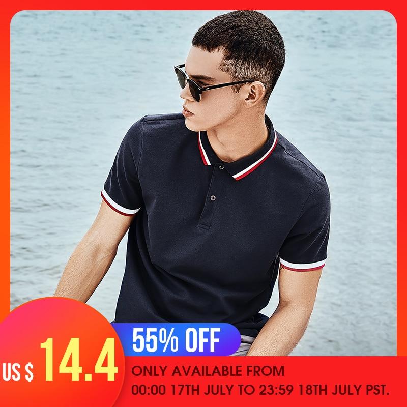 Giordano Men Slim   Polo   Pique Stretchy   Polo   Shirt Men Stripes Ribbed Collar Tops Short Sleeve Tee Shirt Camisa Masculina