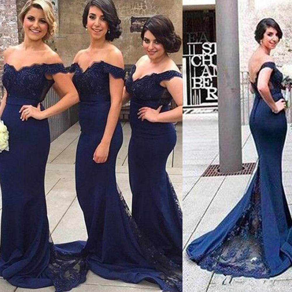 Blue 2019   Bridesmaid     Dresses   For Women Mermaid Off The Shoulder Lace Beaded Backless Long Cheap Under 50 Wedding Party   Dresses