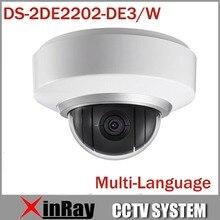 Multi-idioma Wifi Wireless Cámara IP 1080 P Auto Cámara Domo PTZ DS-2DE2202-DE3/W 2X Zoom Construido En Mic y Posicionamiento de Audio 3D