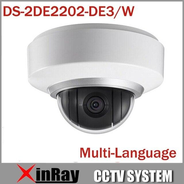 Multi-language Wifi Wireless Camera IP 1080P Auto PTZ Dome Camera DS-2DE2202-DE3/W 2X Zoom Built In Mic and Audio 3D Positioning