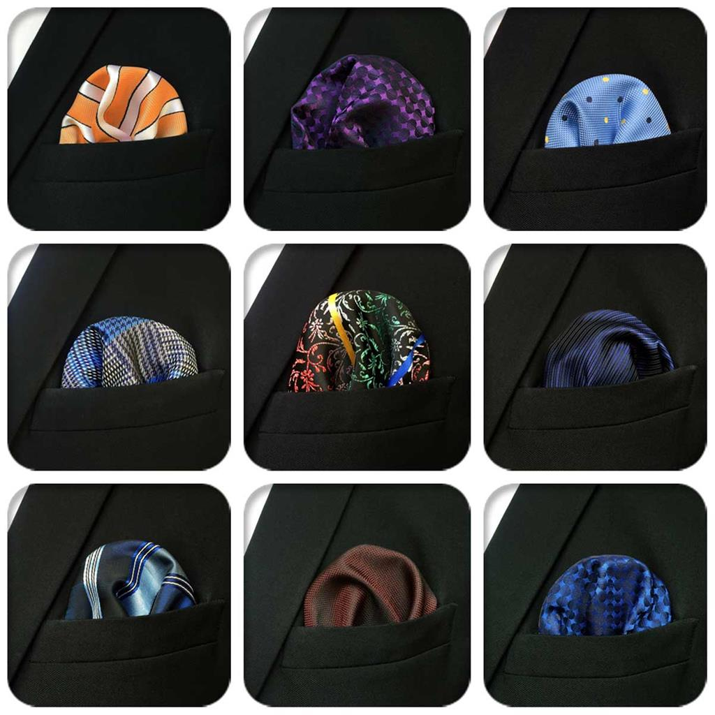Floral Paisley Mens Pocket Square Classic Silk Hanky Business Fashion Silk Handkerchief Wedding