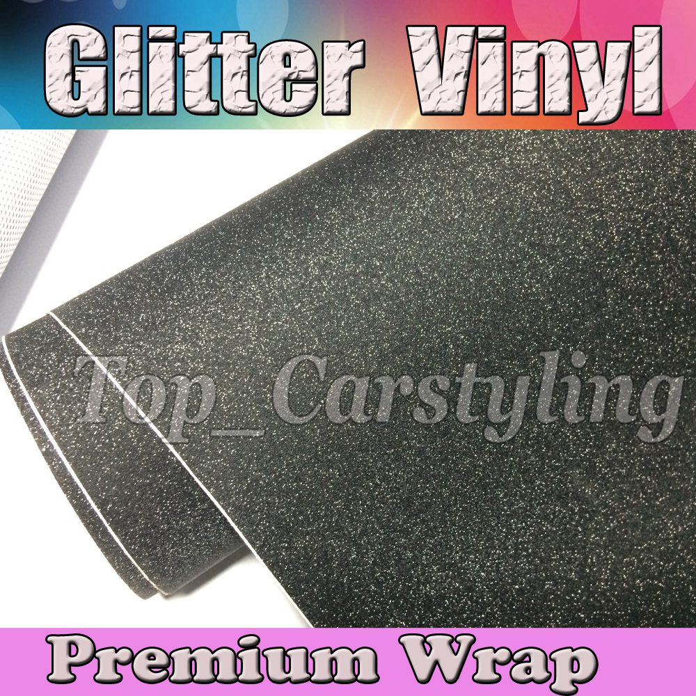 Black Frosted Glitter Sparkle Vinyl Car Wrap Sticker with Air bubble Free Decal CARS * LAPTOPS * FURNITURE1.52x30m/Roll 5x98ft