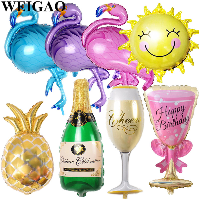 WEIGAO 1Pcs Flamingo Party Aluminium Foil Balloons Birthday Decoration Inflatable Balloon Baby Shower Summer Pool Party Supplies