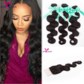 7a Peruvain virgin hair with closure Peruvian body wave with closure Rosa hair products with closure 3 bundles human hair weave