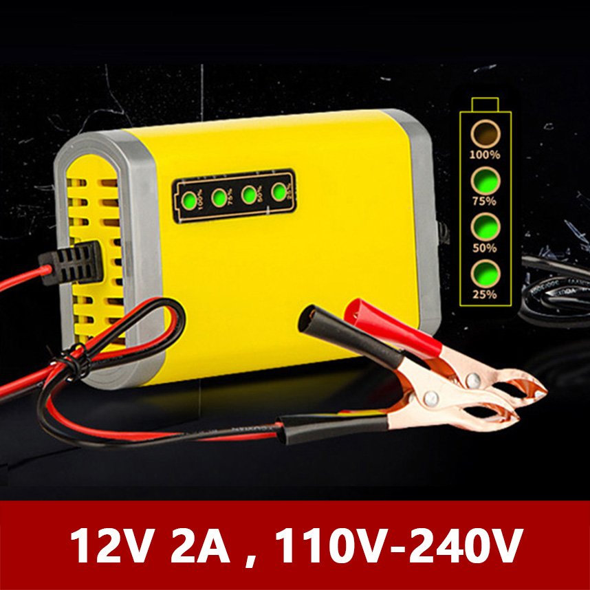 12V 2A Smart Automatic Battery Charger For Car Motorcycle 12 Volt Lead-Acid AGM GEL Auto Batteries With LED Display Clamp 2000ma