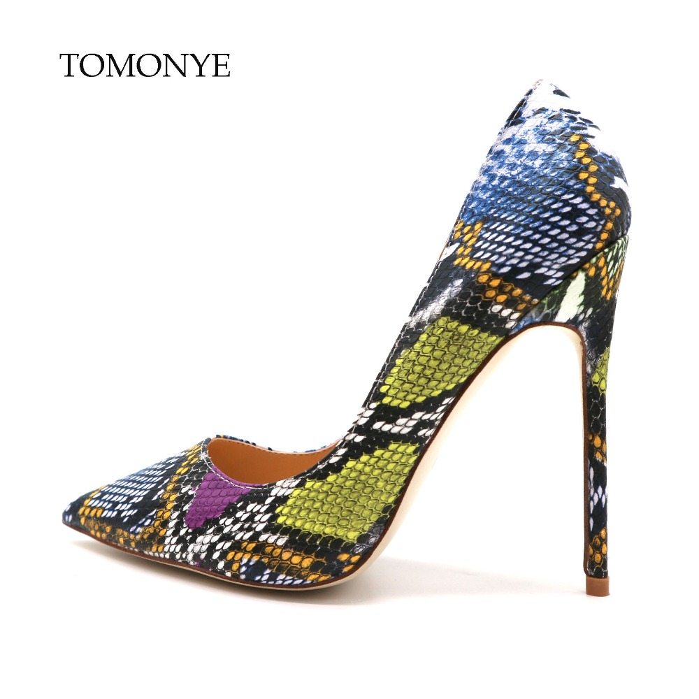 2019 new designer brand blue green purple python pointed toe women ladies girl 12cm sexy high