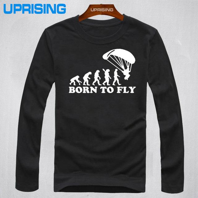 Nueva Moda de Verano Nació Para Volar Evolución De Parapente Parapente Camiseta Mens Ropa Tops Camisetas de Manga Larga T-shirt