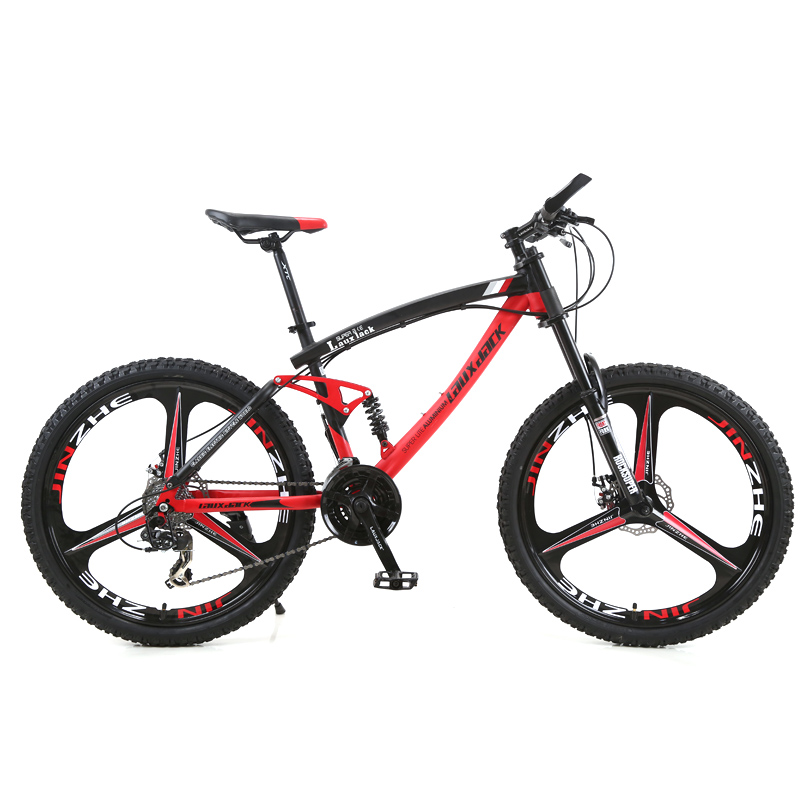 LAUXJACK Mountain Bike Steel Frame Full Suspension Frame Mechanical Disc Brake 24 Speed Shimano 26