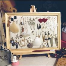 25*20cm Photo Frame Jewelry Ear Nail Receiving Display Box/Ear Ring Necklace Linen cloth Projects C621