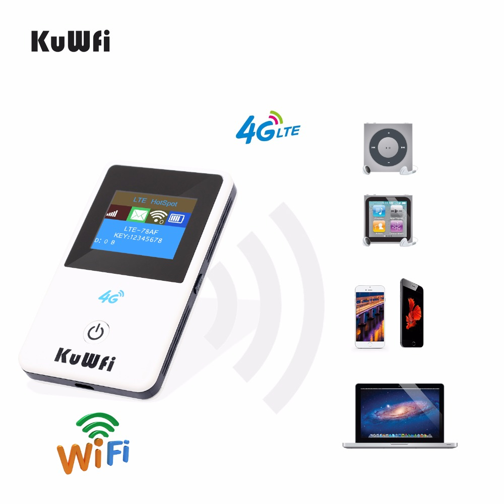 KuWFi 4G Mini Wifi Router 3G/4G LTE Wireless Router Portable Pocket Mobile Hotspot Car Wifi Router Support B39/B40/B41-in 3G/4G Routers from Computer & Office