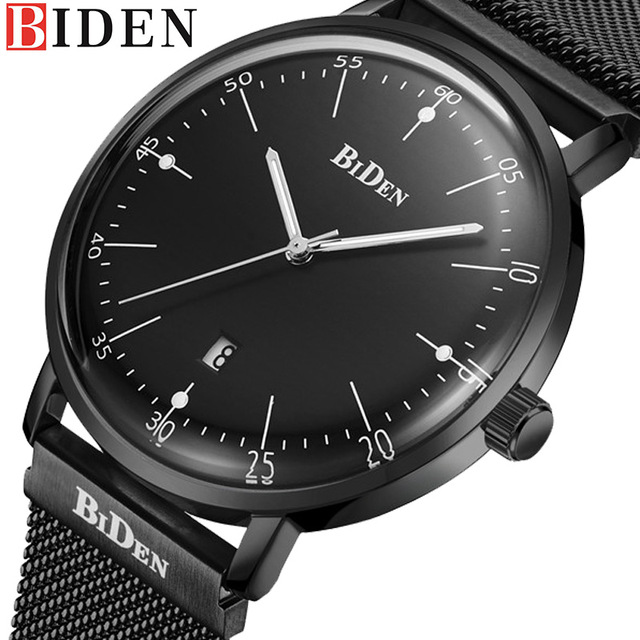BIDEN Auto Date Men Quartz Watch Stainless Steel Mesh Band Watches Fashion Slim Man Watches Male Sport Wristwatches