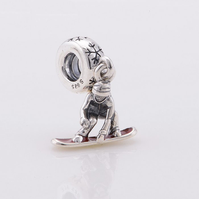 Fits Pandora Charms Bracelet 925 Sterling Silver Enamel Snowboard Boy Dangle Bead Women DIY Jewelry Free Shipping