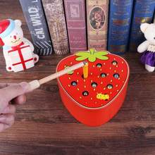 Creative Baby Wooden Toys 3D Puzzle Early Childhood Educational Toys Catch Worm Game Color Cognitive Magnetic Strawberry Shape(China)