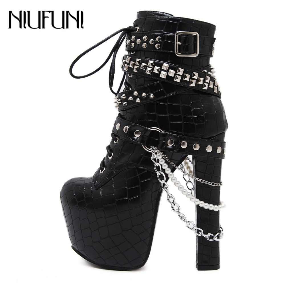 nuevo producto aa89e 54b7e Piel botas de invierno de moda tacones altos Botines mujer tacones gruesos  zapatos de plataforma del remache cordón cadena Punk botas zapatos