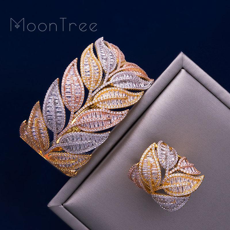 ModemAngel Super Luxury Leaf 3 Tone Full AAA Cubic Zirconia Women Bracelet Bangle Ring Set Dress Jewelry Sets