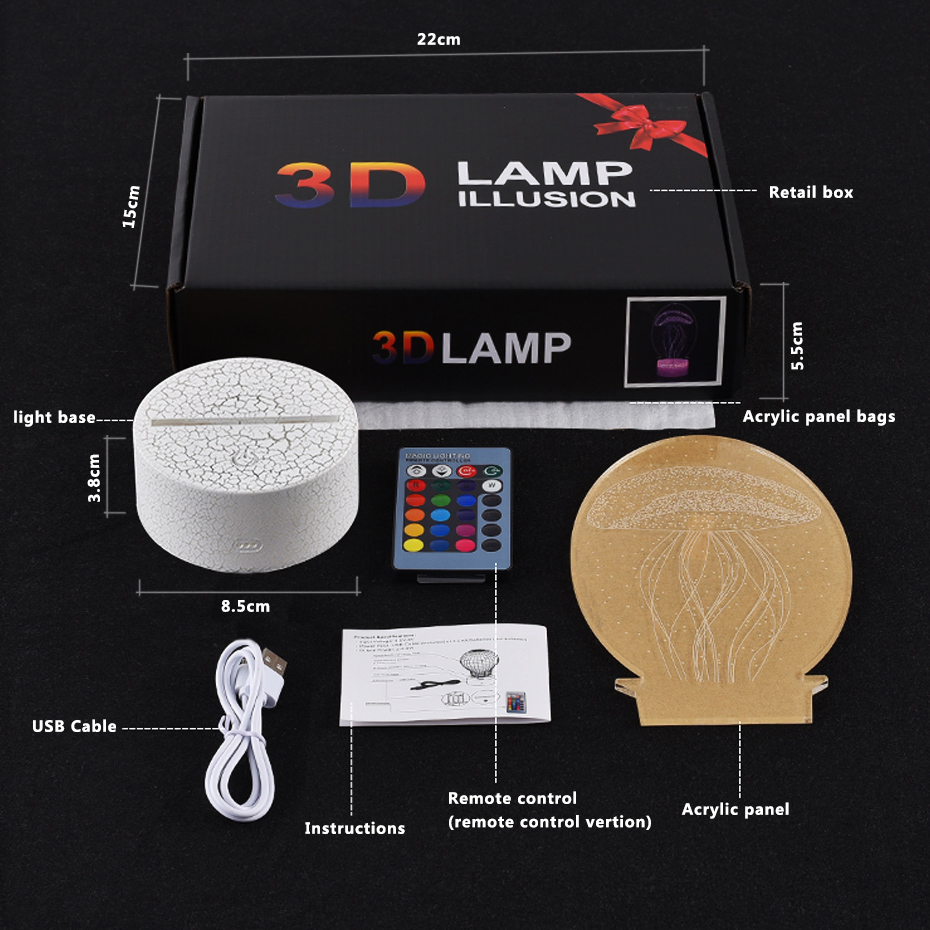 Remote Control Lamp 3d Monster Animal Led Light Illusion Night Light Projection Kids Gifts 3d Led Lamp in LED Night Lights from Lights Lighting