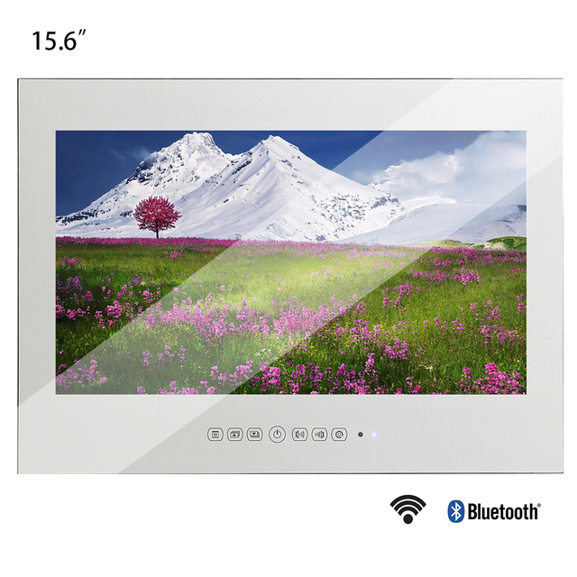 Souria 15.6 inch Android 9.0 Bathroom LED TV IP66 Waterproof Hotel Vanishing WIFI HD (Magic Mirror /Black /White) 1