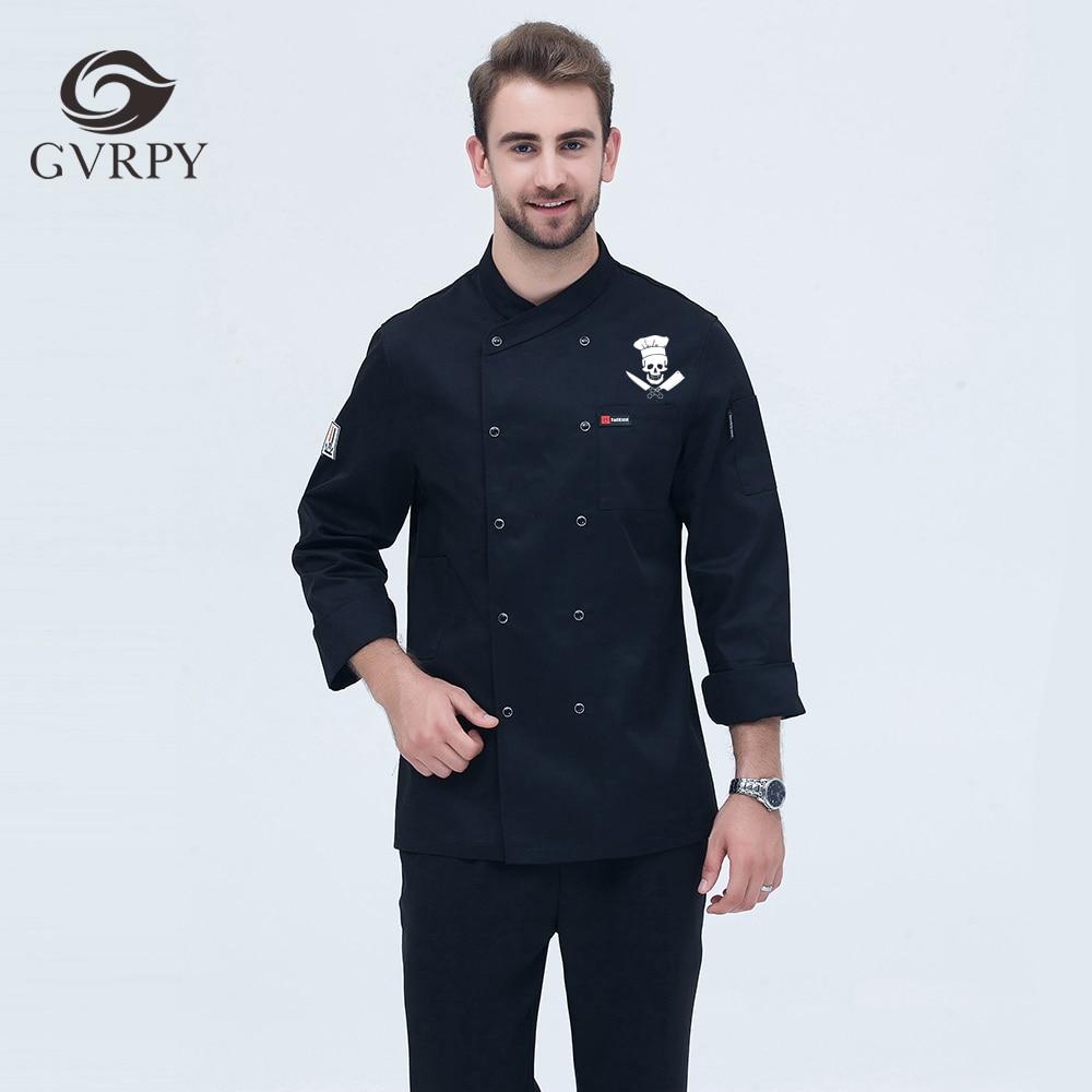 Men's High Quality Customized LOGO Chef Jacket Long Sleeve Master Chef Restaurant Uniform Hotel Bakery BBQ Kitchen Workwear