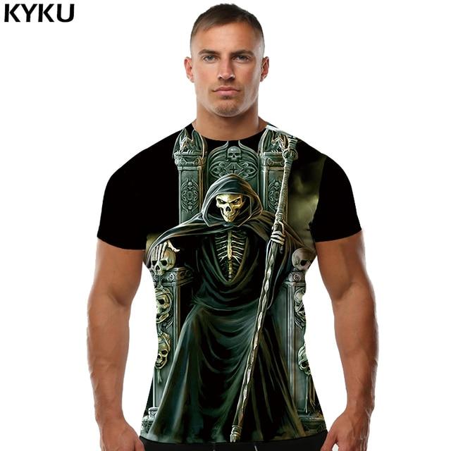 KYKU גולגולת גברים חולצה חולצת טי Evil Black הדפסת 3d מלאך מוות היפ הופ חולצה Mens גותי הלבשה 2018 קיץ חולצות טי Slim חדש