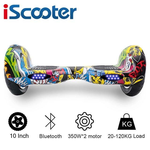 Iscooter ХОВЕРБОРДА Bluetooth 10 дюймов два колеса Smart самобалансируемый скутер электрический скейтборд с динамик Hover доска UL2722