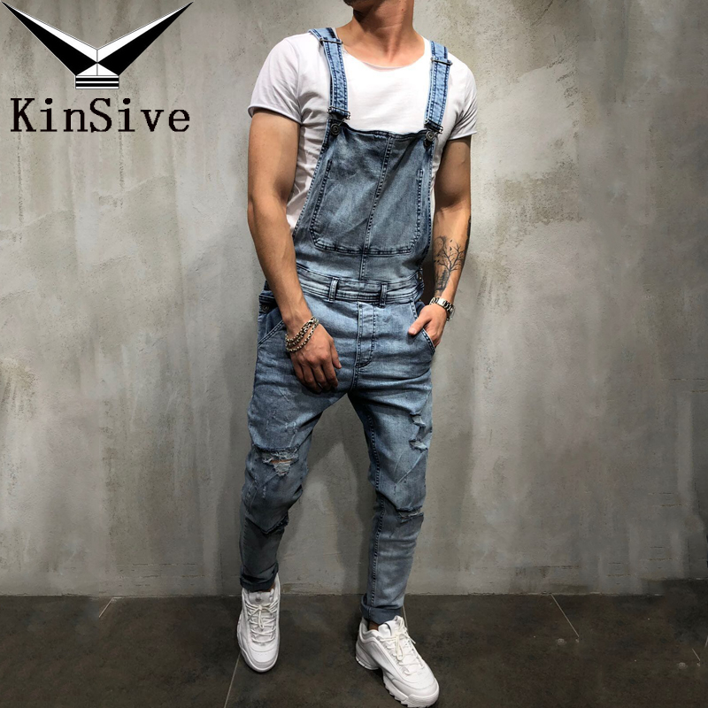 Fashion Clothes Men's Ripped Jeans Jumpsuits Streetwear Male Distressed Denim Bib Overalls Trouser For Man Hole Suspender Pants