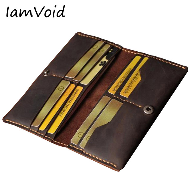 47a710bb8eac IamVoid Minimalism Handmade Genuine Leather Wallet Vintage Crazy Horse  Cowhide Leather Purse Thick Stitch Simple Money Holder
