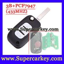 Бесплатная доставка (1 шт.) 3 Кнопочным Пультом Дистанционного Флип Ключ С PCF7947 Чип Для Renault 433 МГЦ