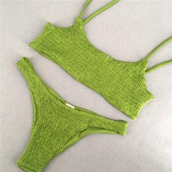 Sexy Bandeau Kendall Swimwear Bikini Set 2017 Bandeau Sexy Pleated Bikinis Style Beachwear Bathing Suit Women Swimsuit Biquini 4