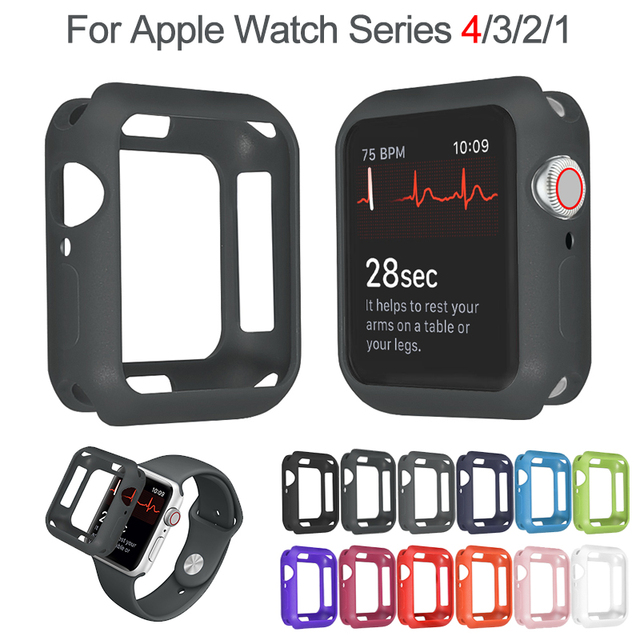 meet 2eb0d cd813 US $1.51 10% OFF|Abdo Soft Silicone Case for Apple Watch 3 2 1 38MM 42MM  Full Protective Cases Bumper for iWatch 4 44MM 40MM Watch Cover Armor-in ...