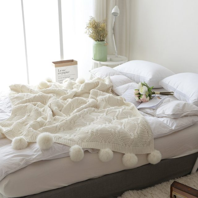 Online Shop 40X40CM 40% Cotton Cable Knit Throw Blanket Super Gorgeous White Fluffy Throw Blanket