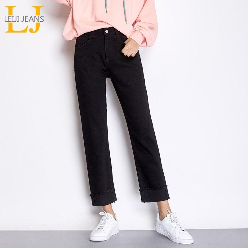LEIJIJEANS New Autumn High Street Letter Embroidery Plus Size 2XL Black Color Cotton Denim Loose Straight Jeans For Women 7304