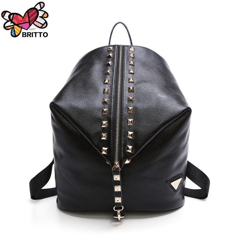 Purchase BRITTO Genuine Leather Backpack Women Solid Daily Daypack Fashion  Soft Handle Ladies Bags ca5170a493b1c