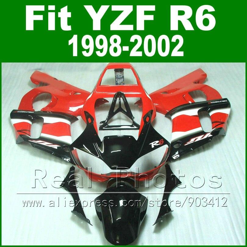 Высоким качеством Пластик части для Yamaha R6 комплект обтекателей 98 02, черный YZF R6 fairings1998 1999 2000 2001 2002 кузов