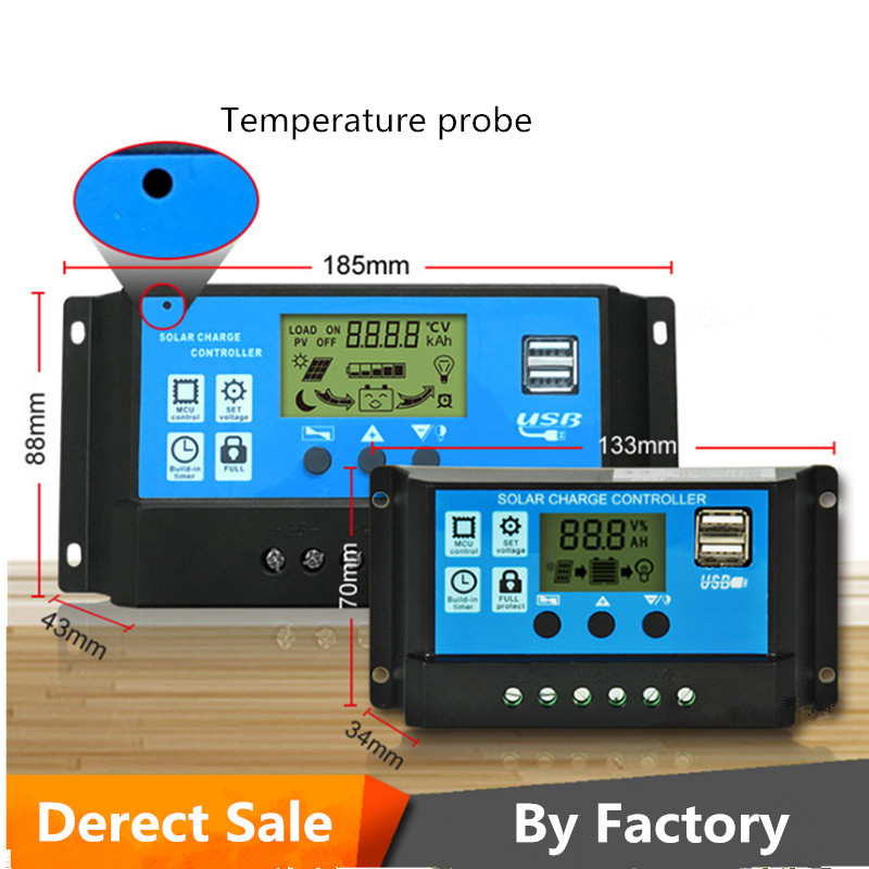 Solar Charger Controller  30A 20A 10A 12V 24V Battery LCD Dual USB Panel Regulator