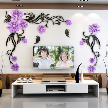 Creative flower 3D stereo acrylic wall sticker background warm decoration Large Size Mural Home Decor Living Room Wall Decals 16