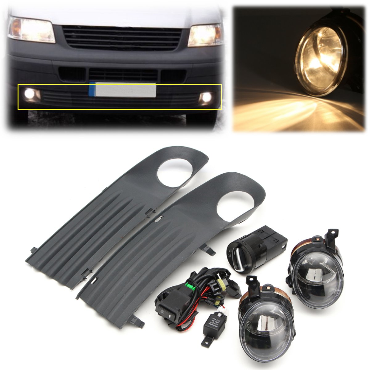 ФОТО 55W Front Left Right Foglight Grille Kit Set w/ Wiring Headlight Switch For VW T5 TRANSPORTER 2003-2010