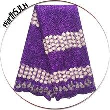 Elegant Nigerian Lace Fabrics Aso Ebi African French Net Lace Fabric 2018 Floral Teal Gold Purple Lace Fabric With Beads цена в Москве и Питере
