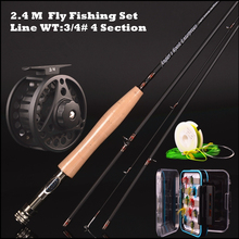 30t carbon fly rod 2.4 m 2.58 meters line wt 3/4# 4/5# 4 section fly fishing rod fishing tackle combo set fly fishing