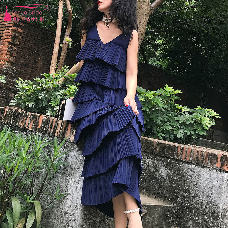 Dark Navy Cascading Homecoming Dresses Tea Length Backless Vestido De Festa Lady Loungewear ZHM055