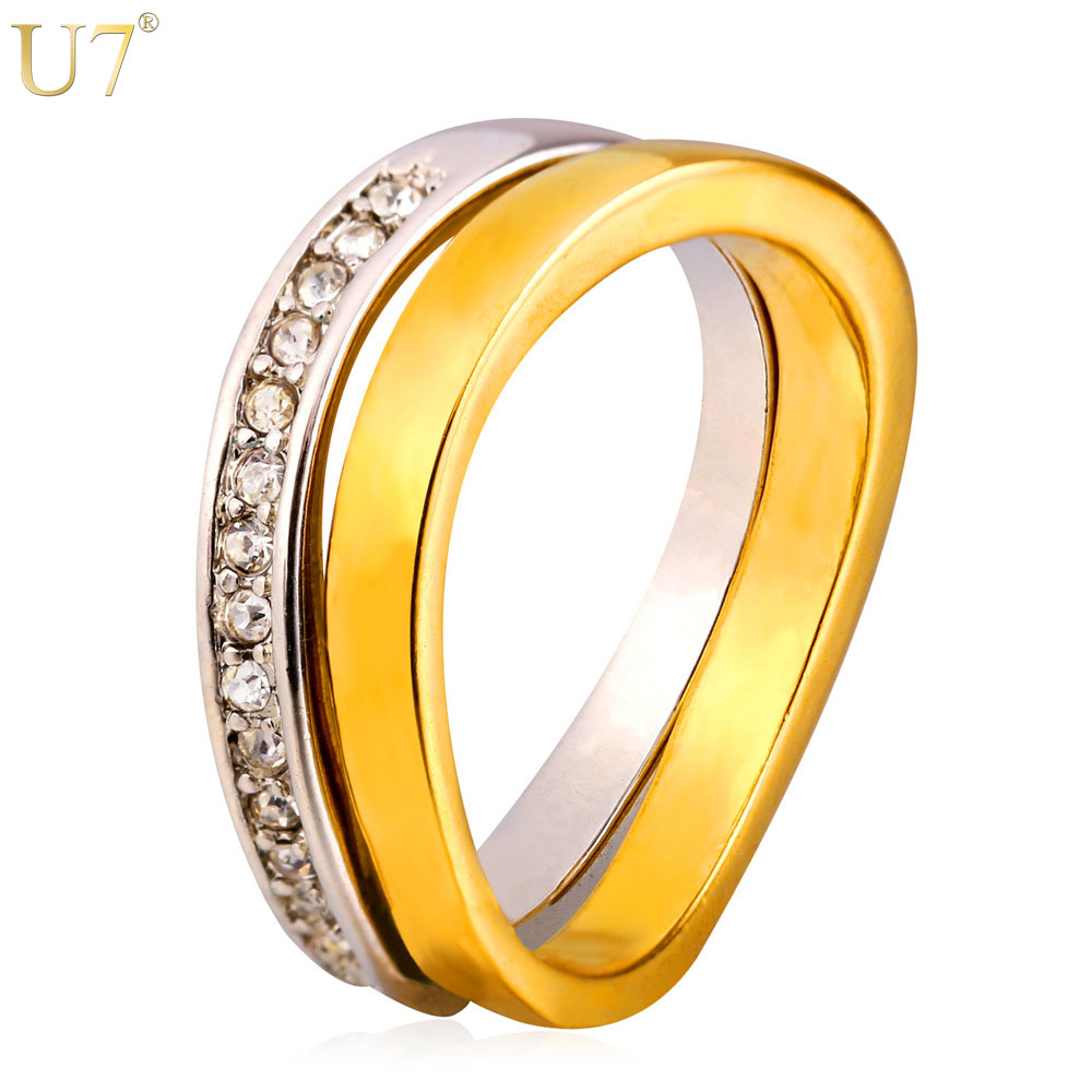 U7 Wedding Couple Rings For Men And Women Two Tone Gold Color Rhinestone  Bridal Sets His And Her Promise Ring Sets R404