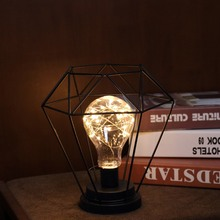 Lámpara de noche LED Retro de estilo nórdico, lámpara de hierro forjado, lámpara de cobre, lámpara de noche para decoración de mesita de noche en casa lámpara