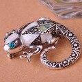 Abalone Shell lagarto camaleão broches chapéu do Vintage acessórios cachecol clipe ombro decoração para as mulheres do partido de prata antigo reino unido