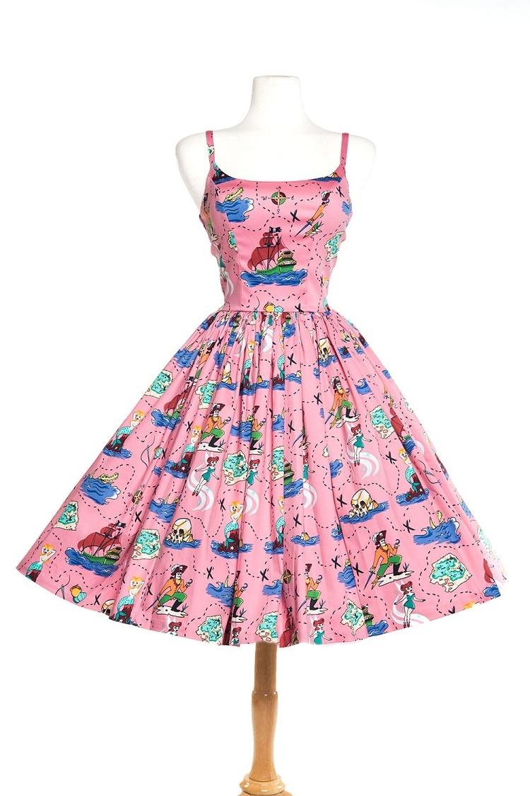Summer Women Dress Vintage 50s Rockabilly Pinup Pink Print Spaghetti ...