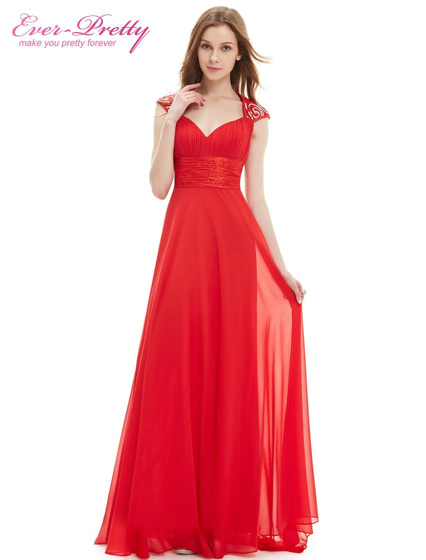 Buy Cheap Evening Dress Red Color Ever-Pretty EP09672 Sexy V Neck Sequins Chiffon Summer A Line 2017 Formal Long Evening Dress