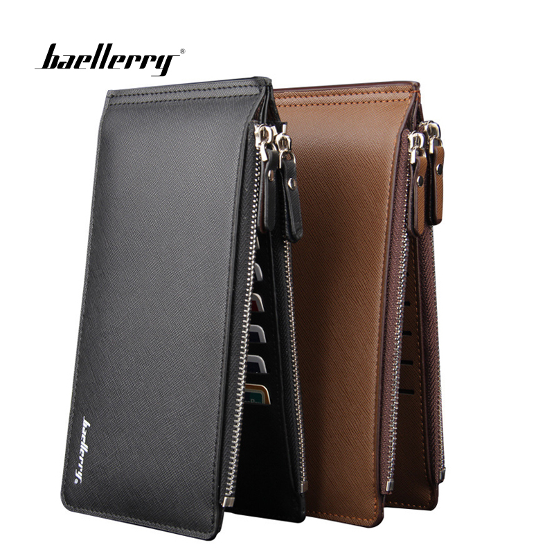 Baellerry Phone Pocket Luxury Man Wallets Men 39 s Business Style Leather Card Holder Billfold Purse Long Wallet in Wallets from Luggage amp Bags