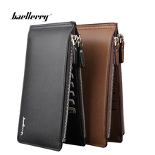 Baellerry Phone Pocket Luxury Man Wallets Mens Business Style Leather Card Holder Billfold Purse Long Wallet