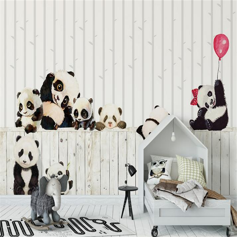 YOUMAN 3D Custom Photo Modern Mural Wallpaper Roll For Living Room Bedding Room Cartoon Pandas Bamboo Kids' Room Mural Decor free shipping 3d stereo cute pink elephant large mural children s room bedroom living room cartoon wallpaper mural