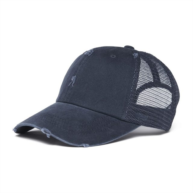 VOBOOM Navy Blue Mesh Net Baseball Cap Men Women Dsitressed Washed Cotton Trucker  Caps Worker Hat Summer Sun Protection Hats 020 8bd256735e
