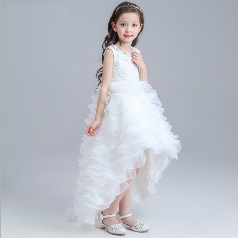 Children's dress long tail girl flower performance dance kids clothing dress child strap princess clothes wedding party dresses gril flower dress multi storey white clothes stage girl performance children show clothes for dance with a pair of glove