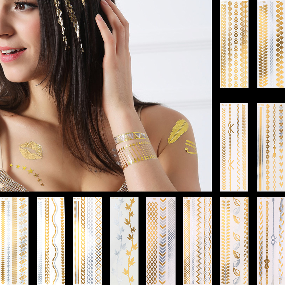 1pc Hot Gold Silver Heart Flash Metallic Tattoo Sexy Women Hair Body Art Temporary Tattoo